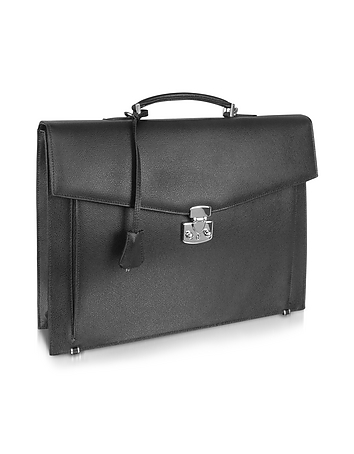 Men's Black Grained Leather Briefcase