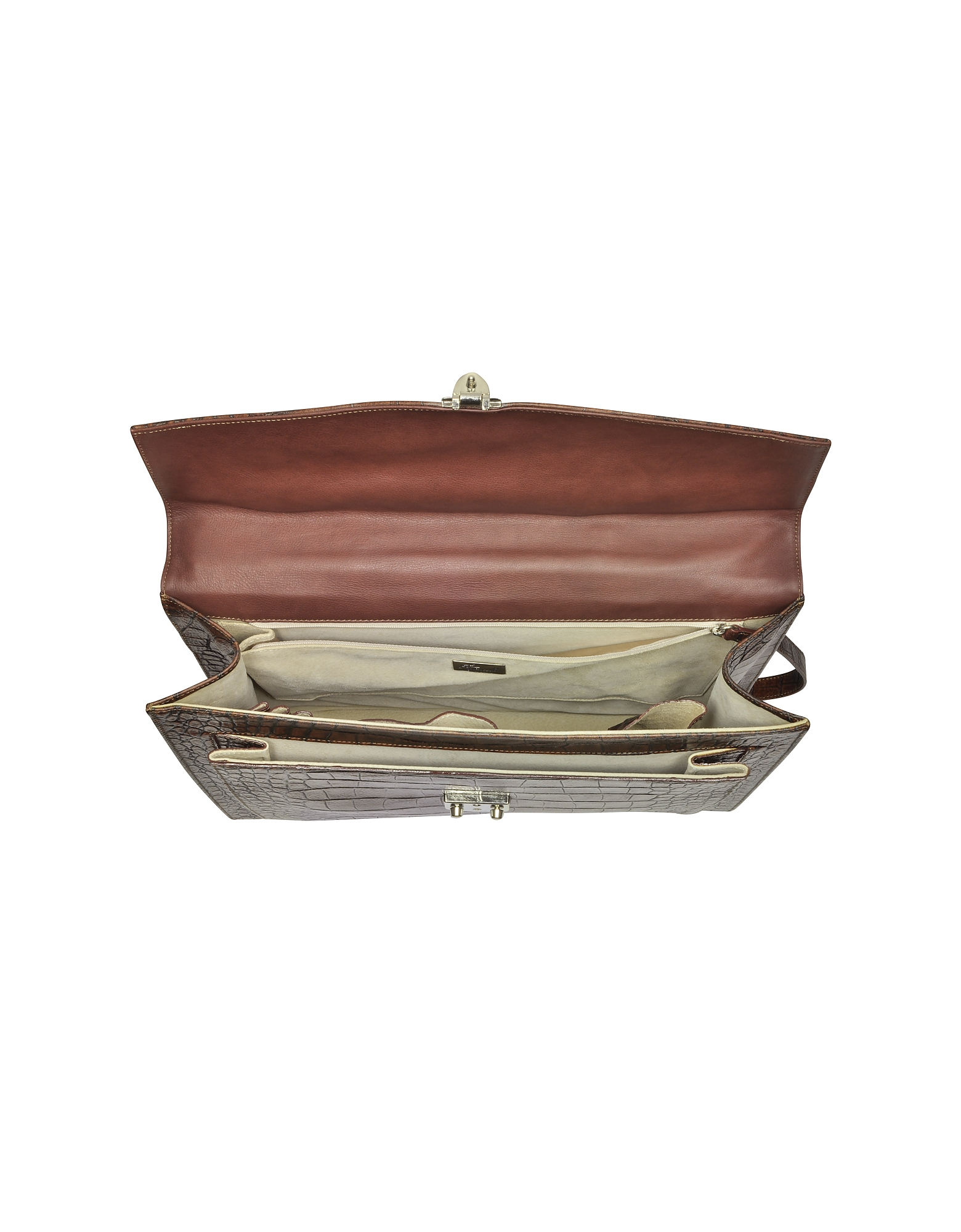 Brown Croc-Embossed Leather Briefcase