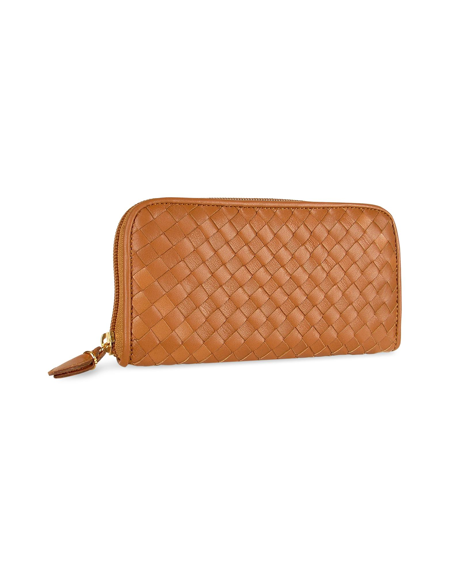 Fontanelli  Women's Brown Italian Woven Leather Concertina Zip Wallet