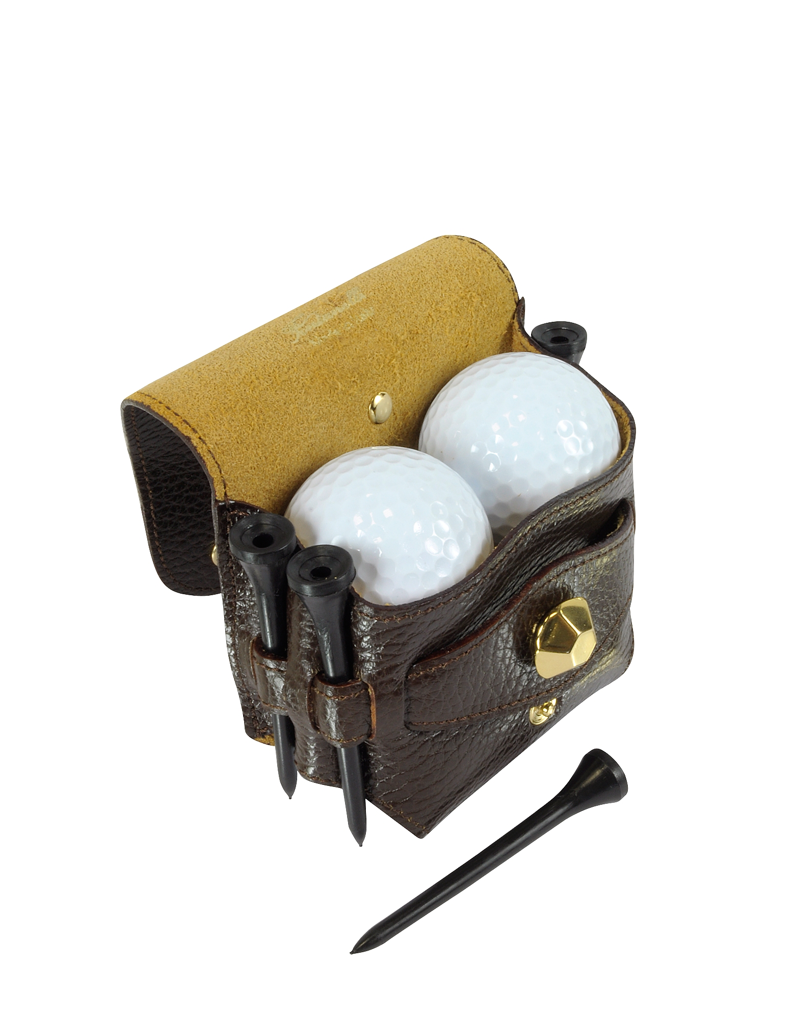 Dark Brown Leather Golfball Holder от Forzieri.com INT