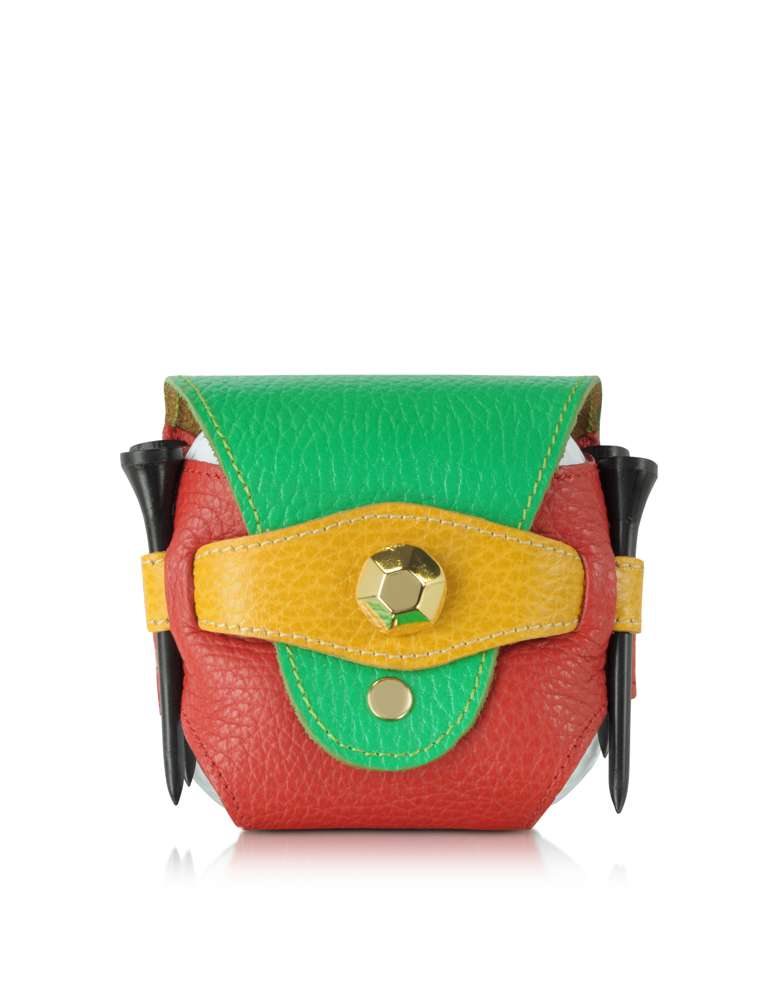 Image of Multicolor Leather Golfball Holder