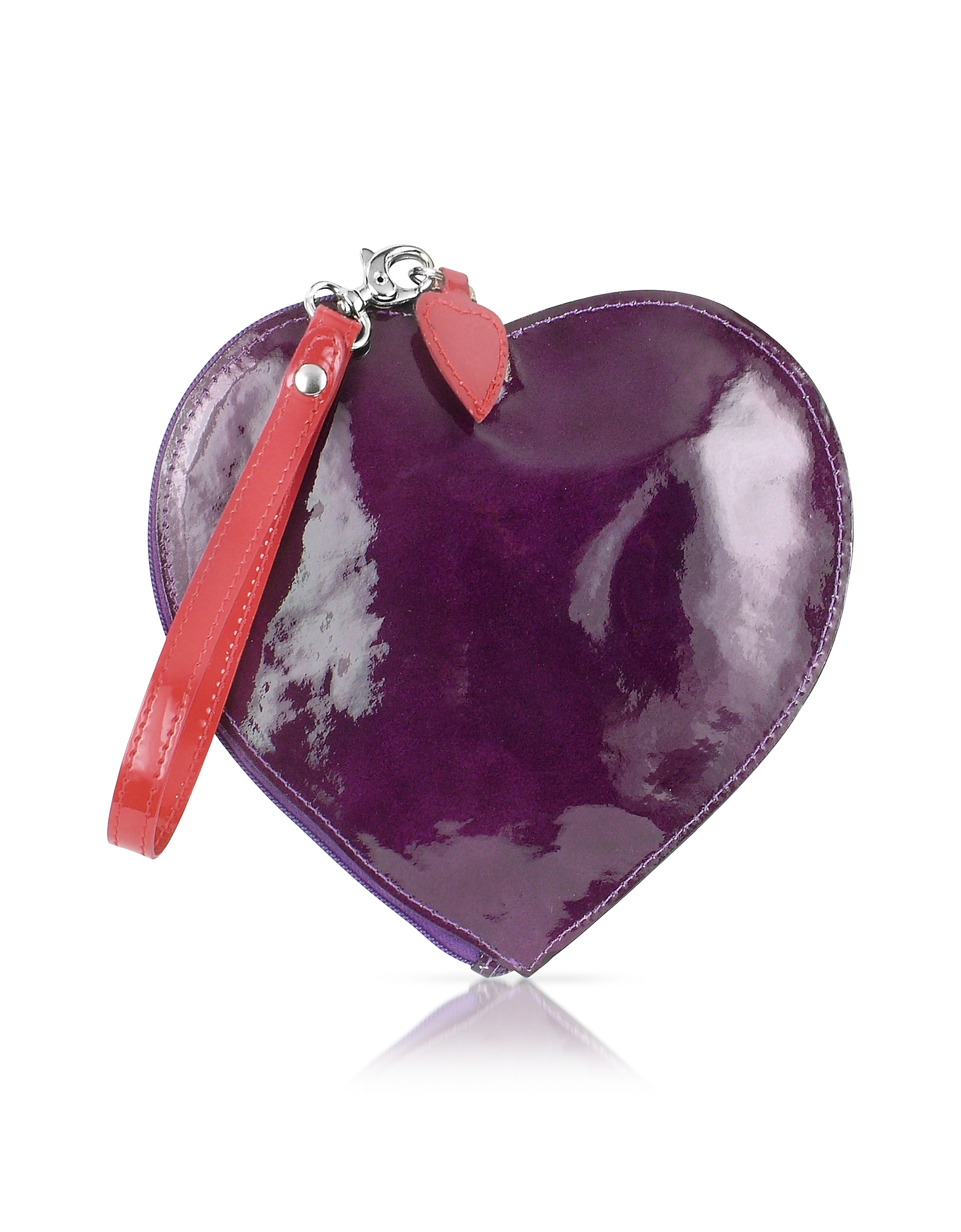 Fontanelli Small Leather Goods, Patent Leather Heart Coin Purse