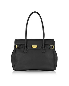 Black Embossed Leather Large Satchel Bag - Fontanelli