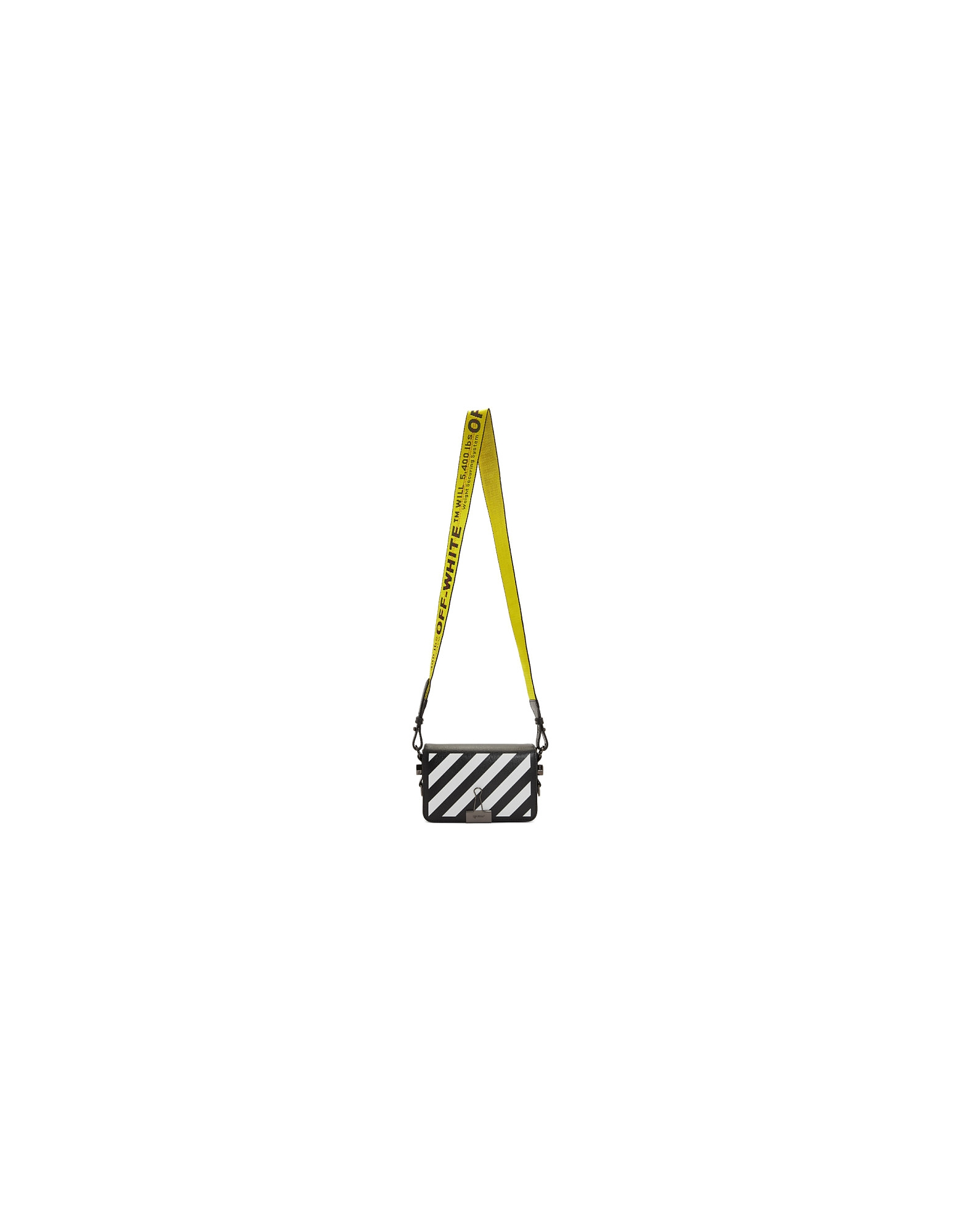 Off-White Designer Handbags, Black Diag Mini Flap Bag