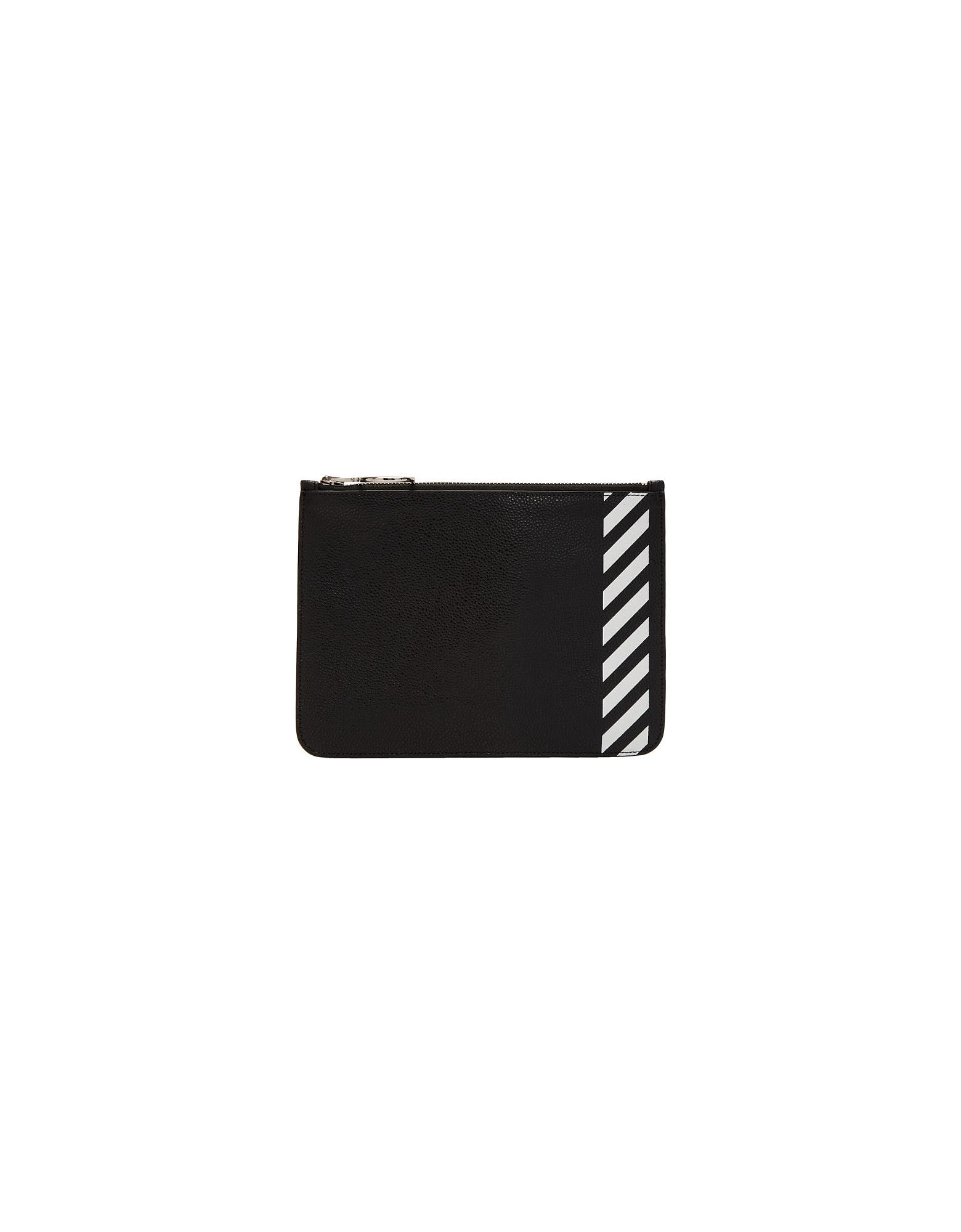 Off-White Designer Handbags, Black Diag Flat Pouch