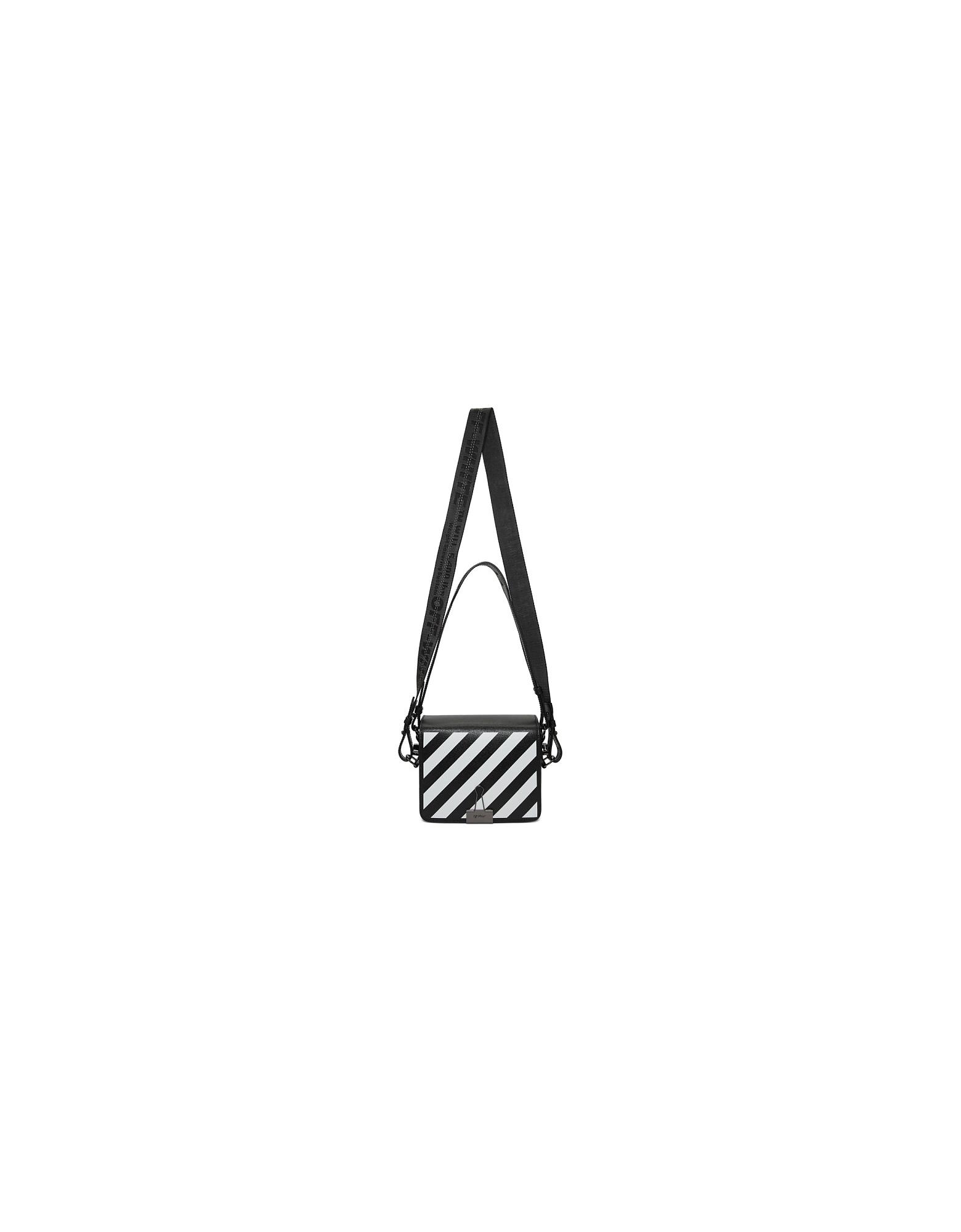 Off-White Designer Handbags, Black Diag Flap Bag