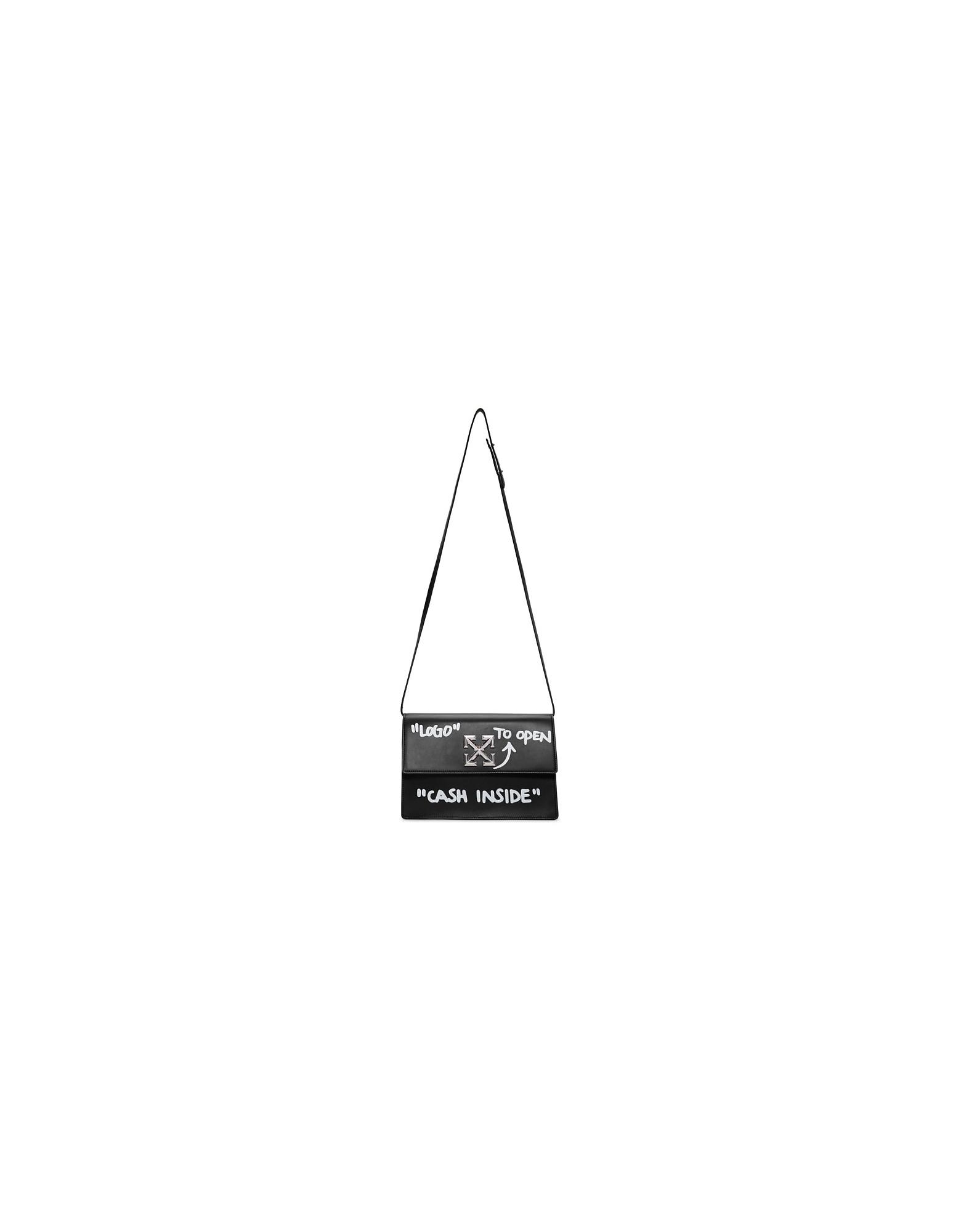 Off-White Designer Handbags, Black Cash Inside Jitney 1.0 Shoulder Bag