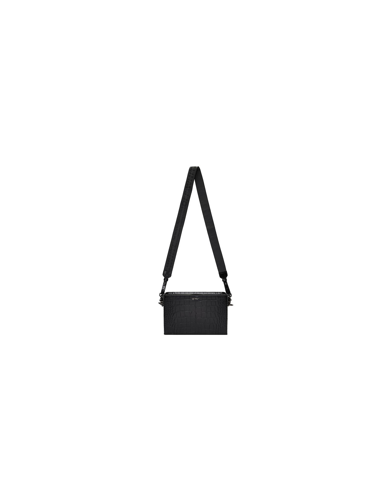 Off-White Designer Handbags, Black Croc Soft Boxy Bag