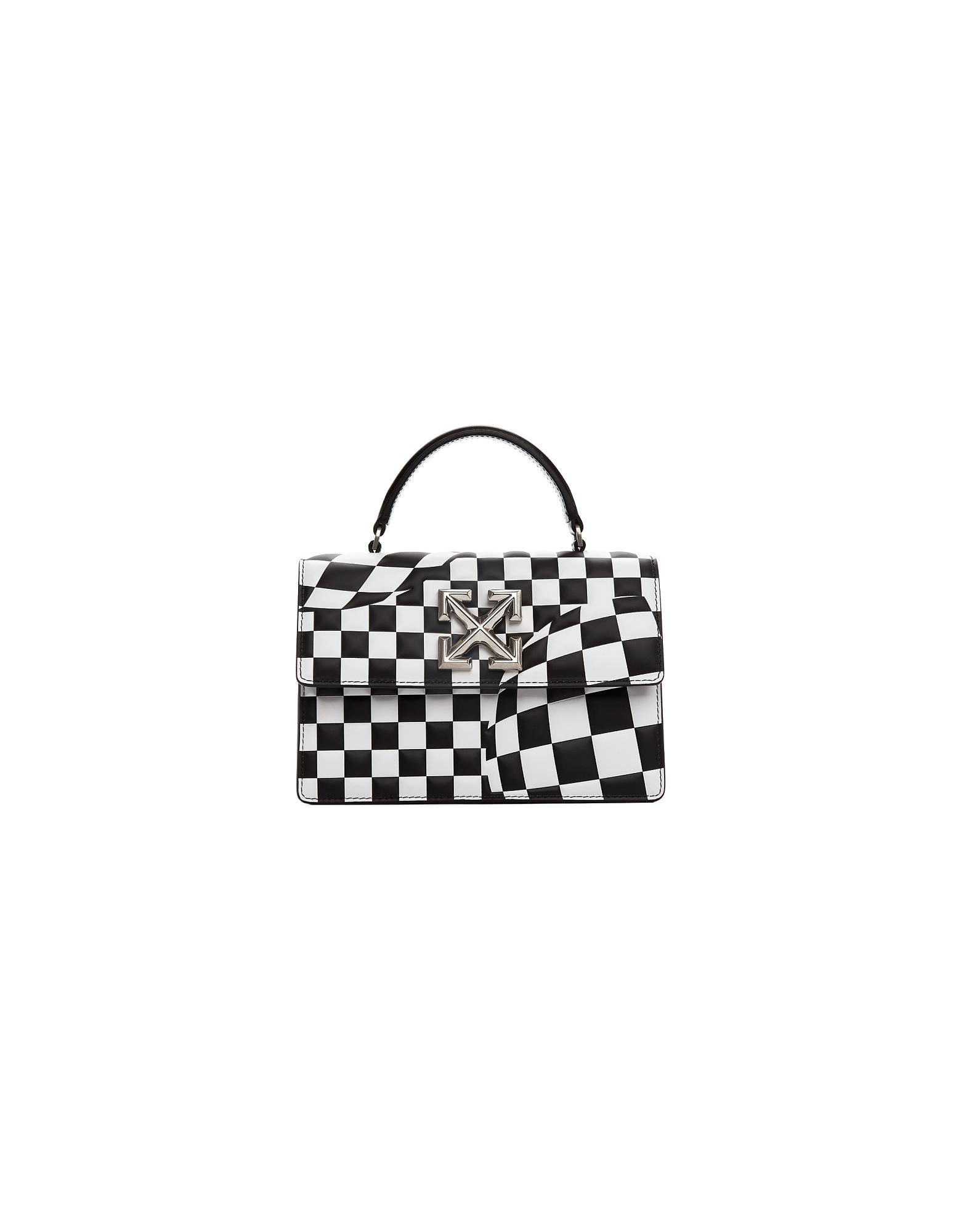 Off-White Designer Handbags, Black and White Check Jitney 1.4 Bag