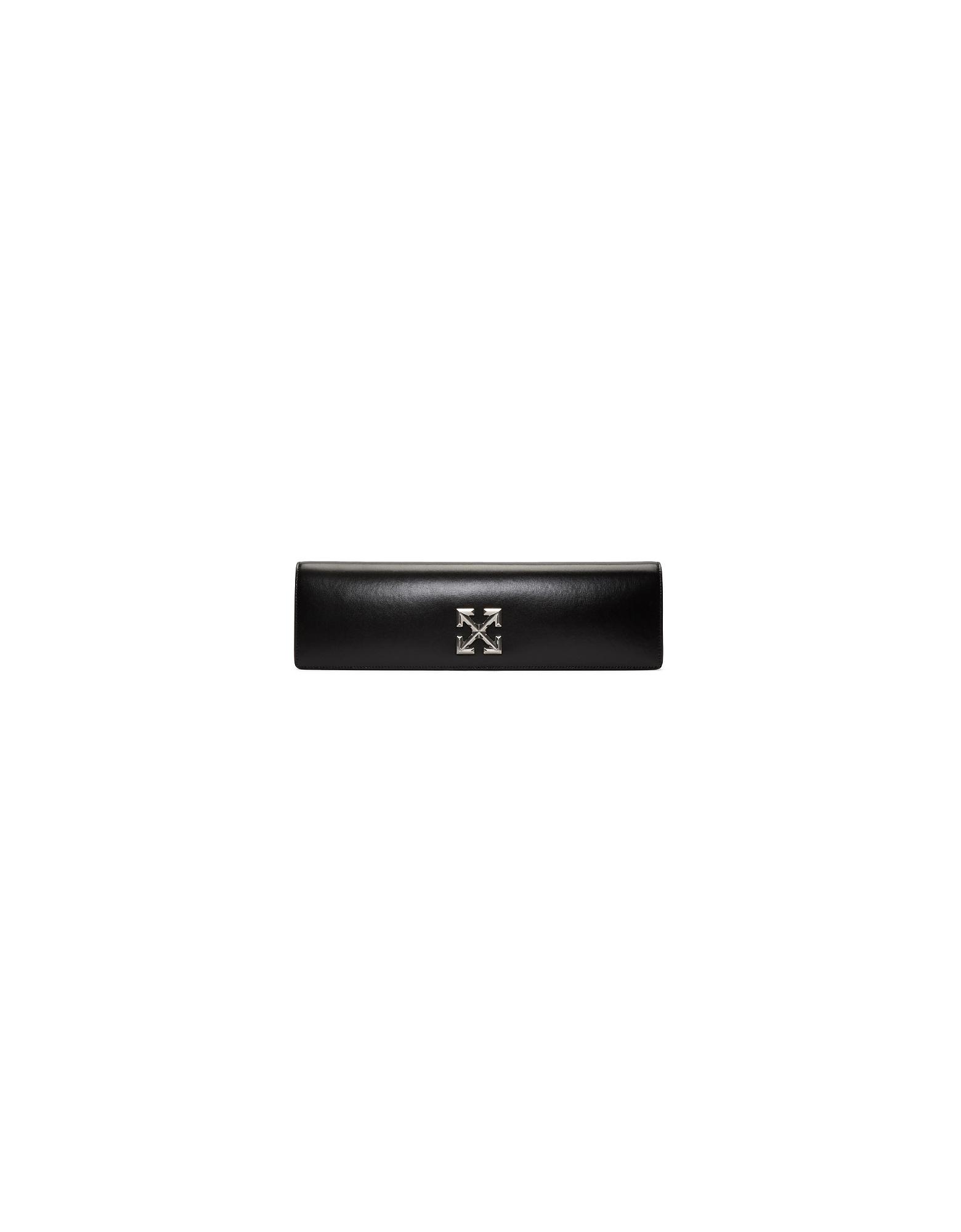 Off-White Designer Handbags, Black Jitney 2.2 Clutch