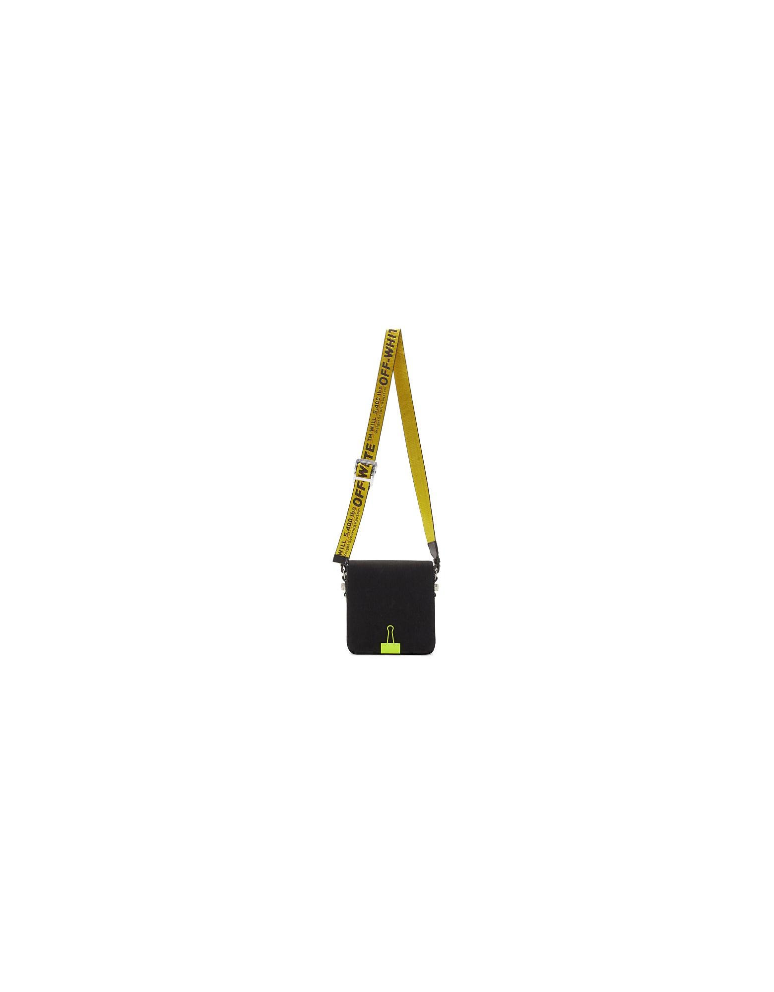 Off-White Designer Handbags, Black and Yellow Binder Clip Bag