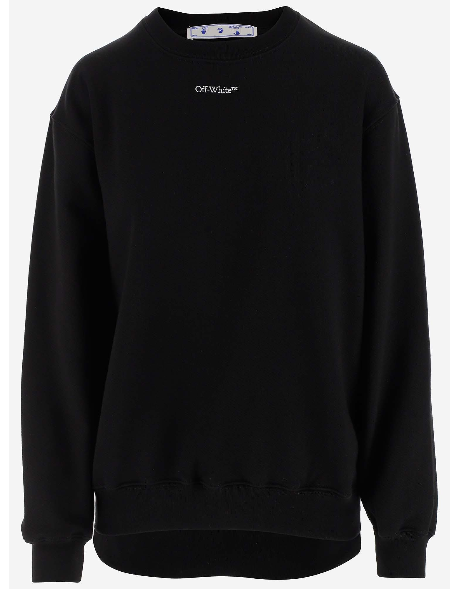 Off-White Designer Sweatshirts, Black Cotton Jersey Women's Sweatshirt