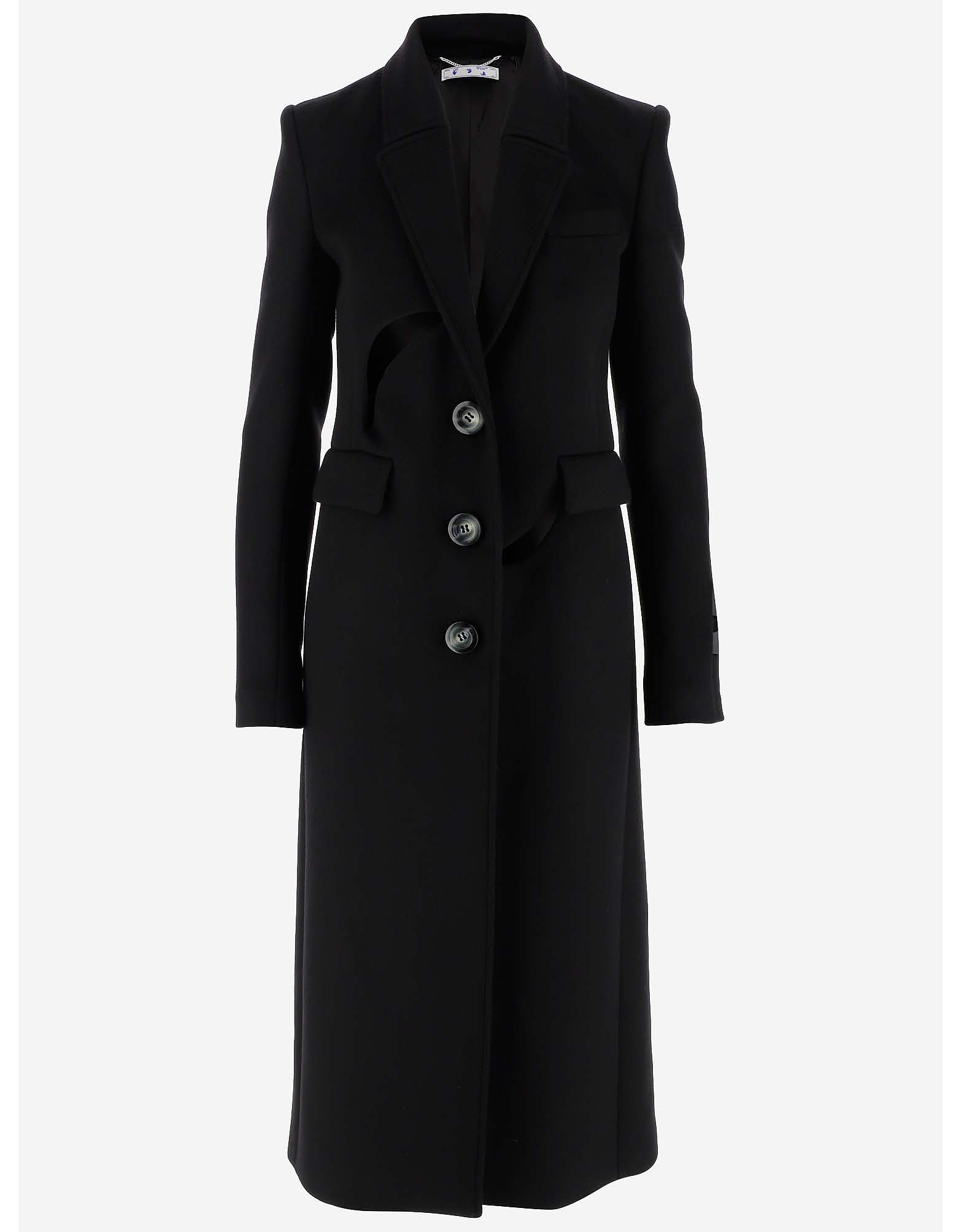 Off-White Designer Coats & Jackets, Black Virgin Wool Women's Coat