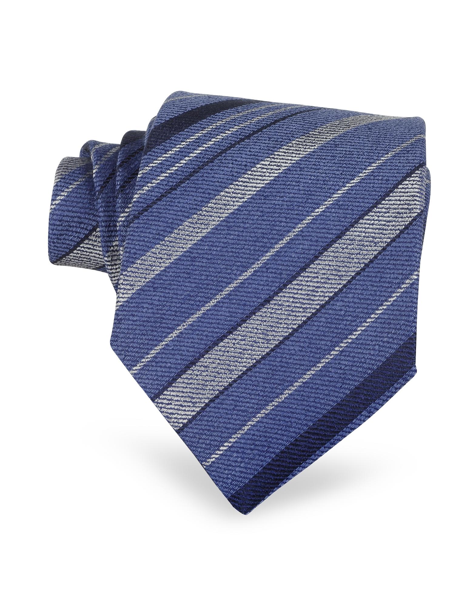 Forzieri Designer Ties, Blue Diagonal Stripe Woven Silk Tie