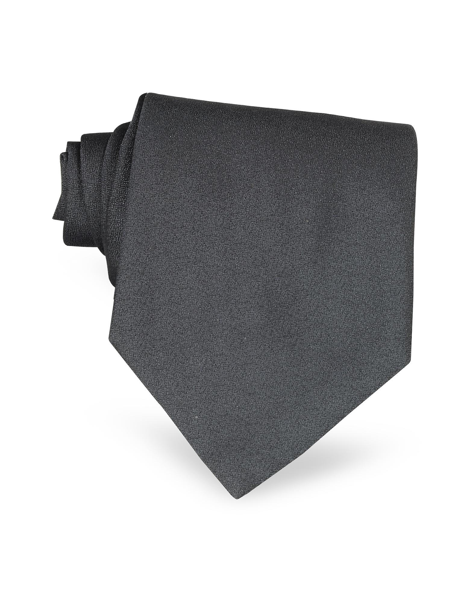 Forzieri Designer Ties, Ponte Vecchio Old Bridge Dark Gray Woven Silk Tie