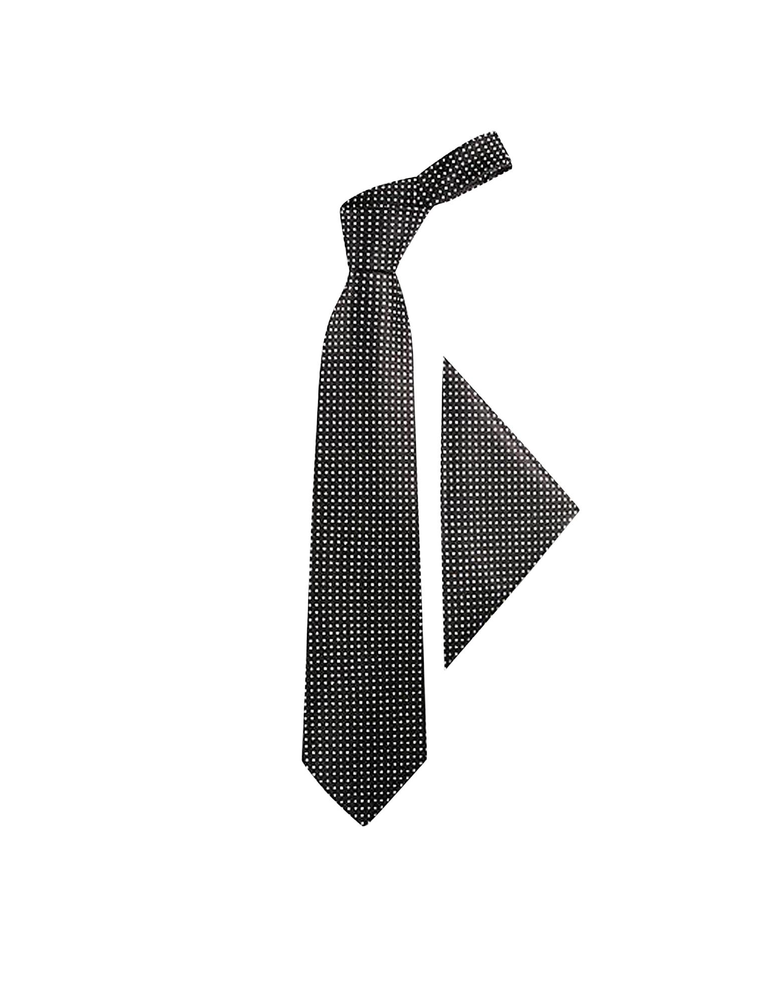 Polkadots Silk Tie & Pocket Square, Blue/black