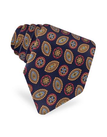 Forzieri Classic Circle and Oval Ornamental Printed Silk Tie