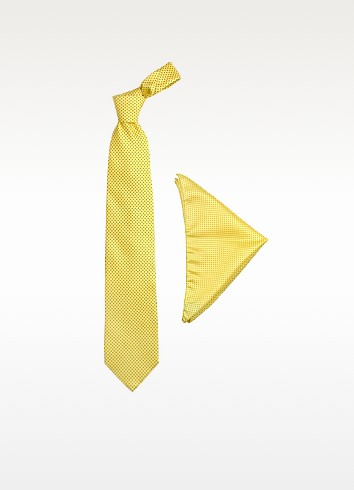 Yellow Mini Blue Polkadot Printed Silk Tie & Pocket Square - Forzieri