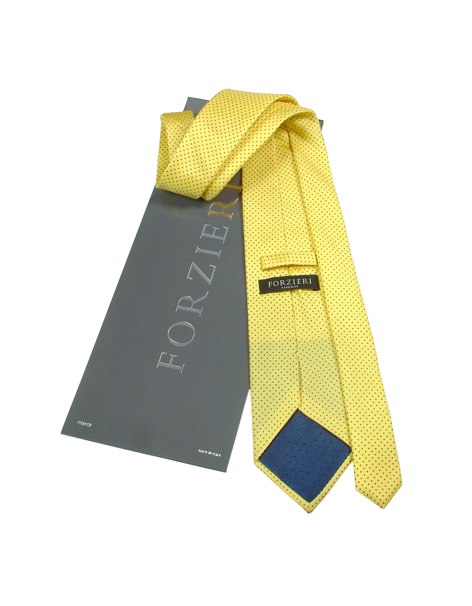 Yellow Mini Blue Polkadot Printed Silk Tie & Pocket Square от Forzieri.com INT