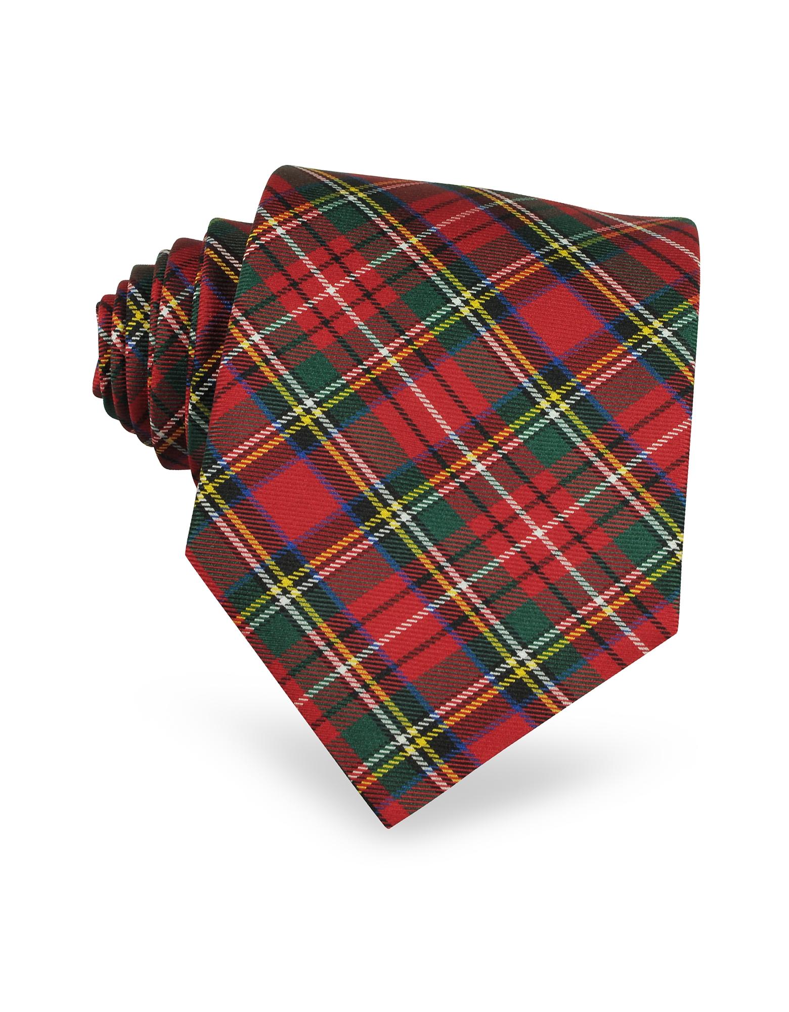 Plaid Silk Tie, Red