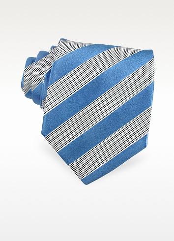 Gold Line - Diagonal Bands Woven Silk Tie - Forzieri