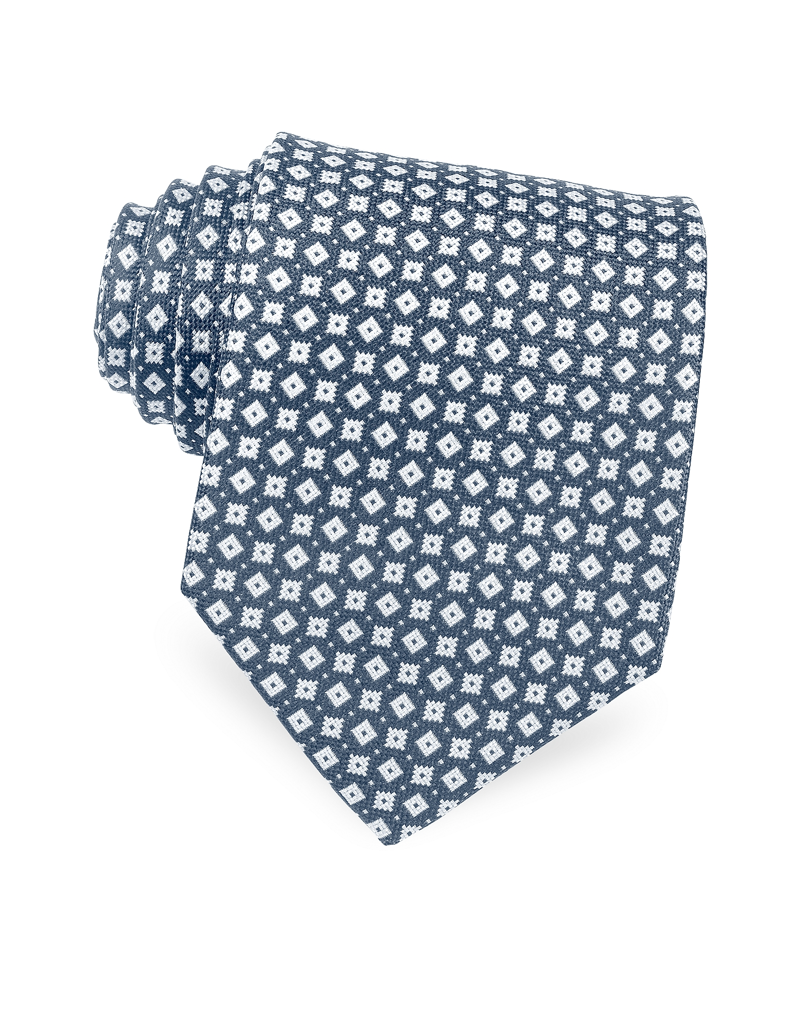 Blue and White Micro Geometric Patterned Woven Silk Tie от Forzieri.com INT