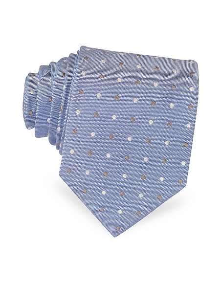 Foto Forzieri Cravatta in Seta con Pois Jacquard a Contrasto Cravatte