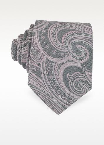 cravate en soie rose p le et grise motifs cachemire forzieri sur forzieri. Black Bedroom Furniture Sets. Home Design Ideas