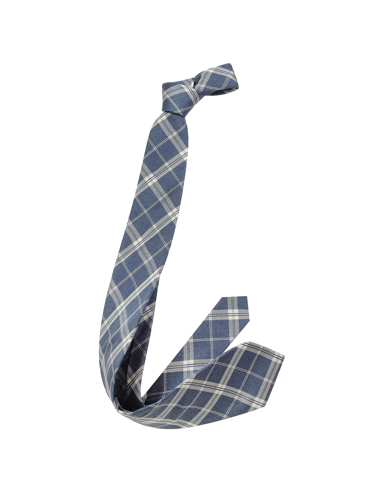 Navy Blue & White Plaid Print Woven Silk Tie от Forzieri.com INT