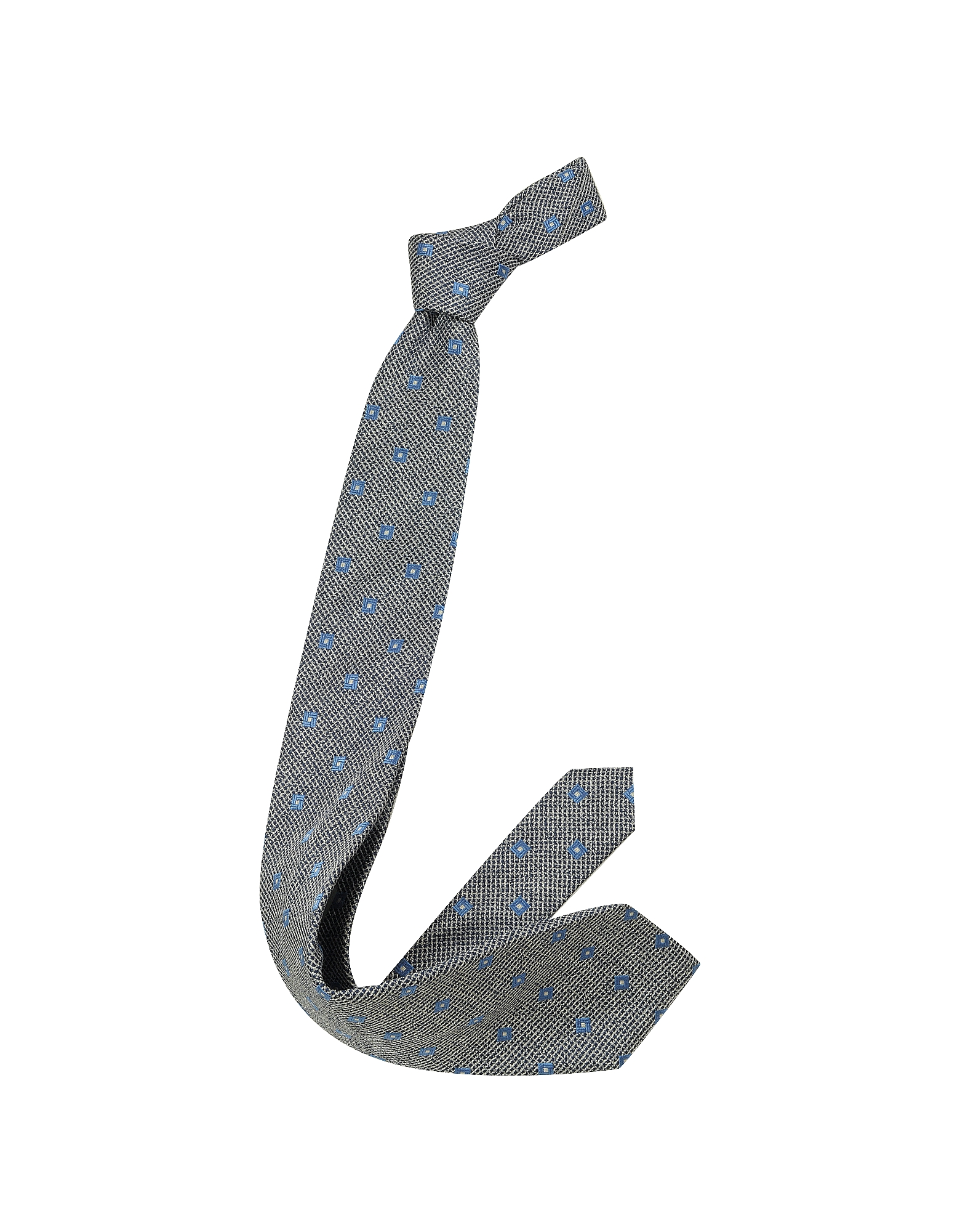 Navy Blue & White Geometric Patterned Woven Silk Tie от Forzieri.com INT
