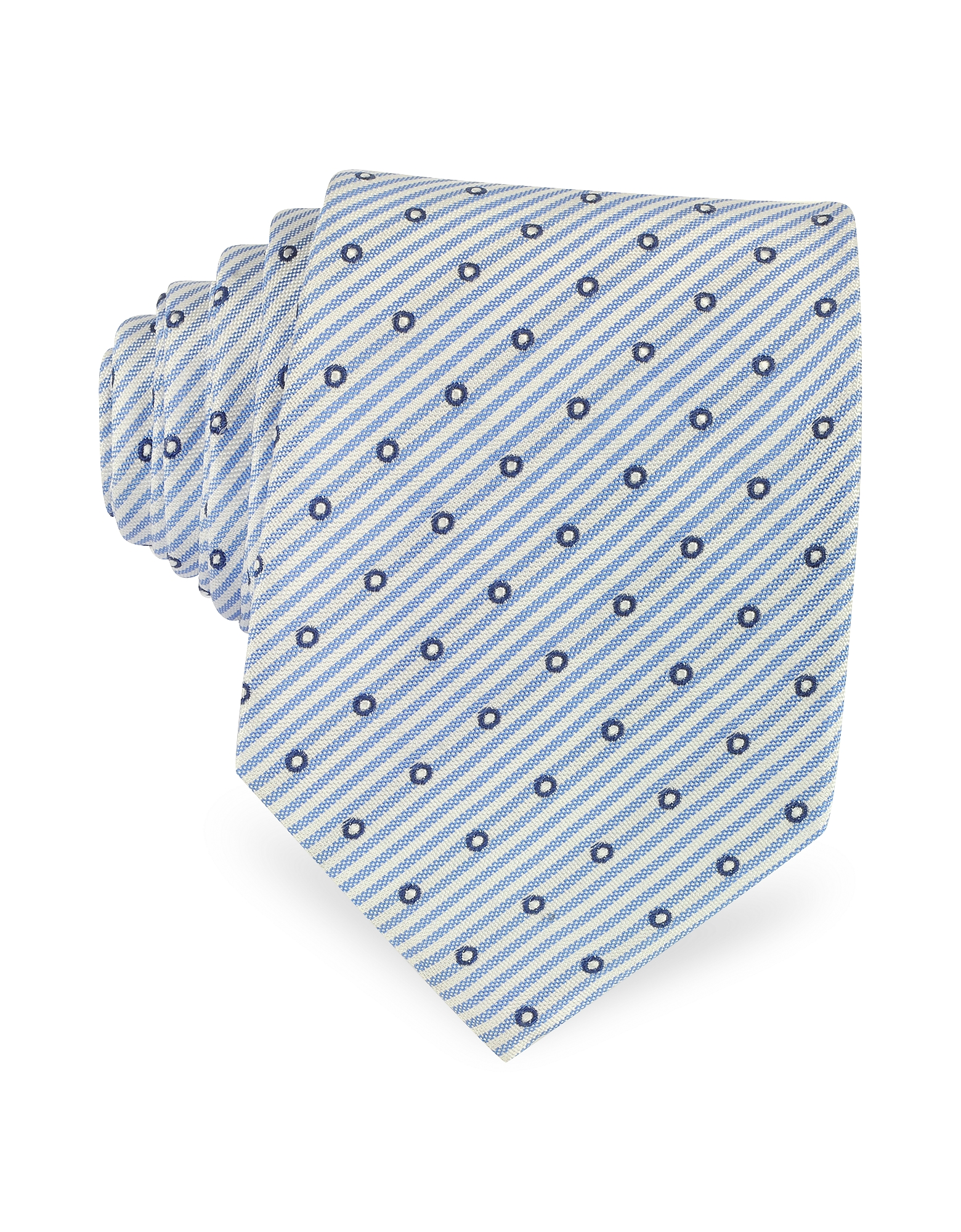 Forzieri Ties, Dots and Stripe Print Woven Silk Tie
