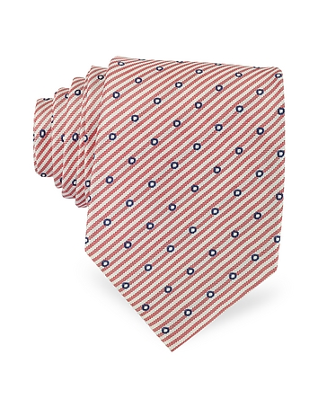 Forzieri - Dots and Stripe Print Woven Silk Tie