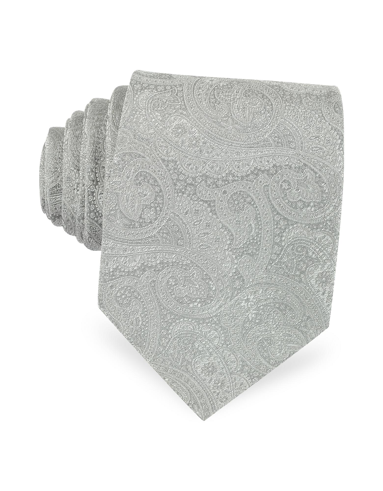 Светло-серый Галстук и Текстурного Шелка с Орнаментальным Принтом