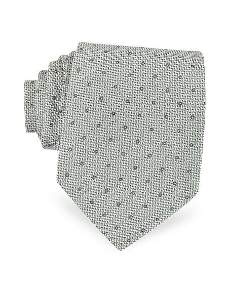 Foto Forzieri Cravatta in Seta Grigio Perla a Pois Cravatte