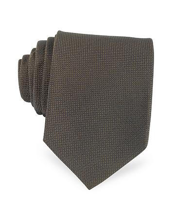 Forzieri - Solid Woven Silk Tie