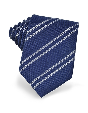 Forzieri - Blue and White Diagonal Striped Woven Silk Tie
