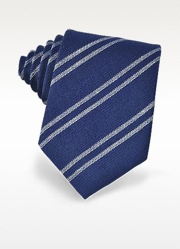 Blue and White Diagonal Striped Woven Silk Tie - Forzieri