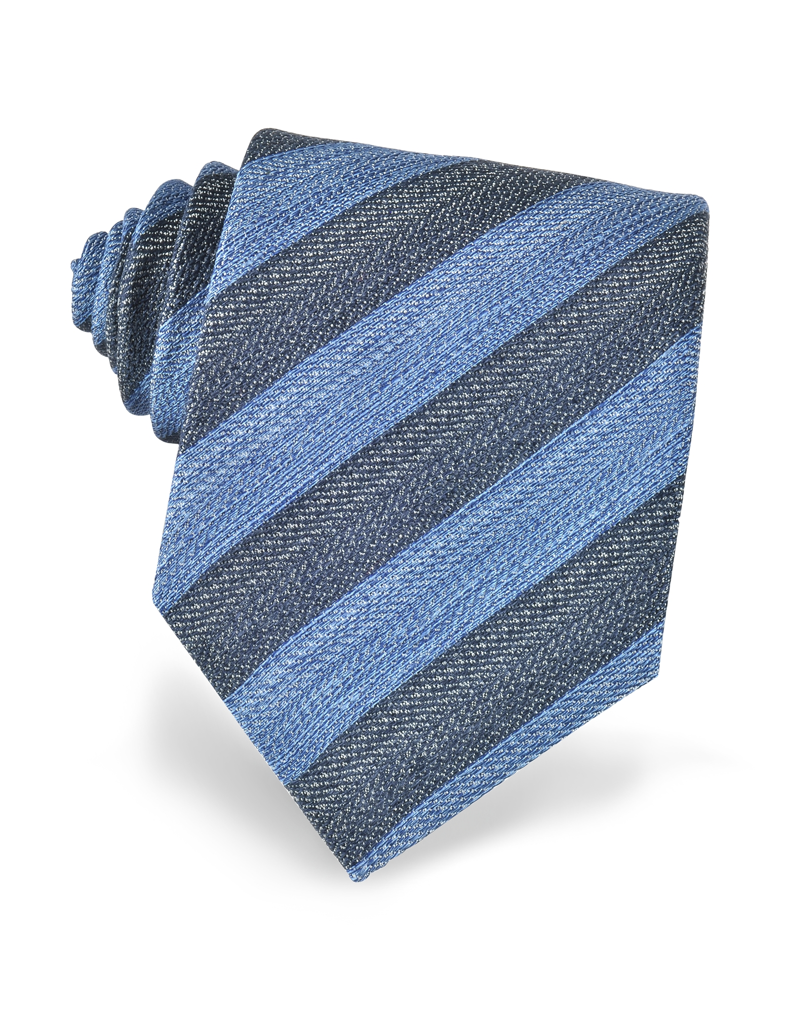 Синий и Красный Галстук из Текстурного Шелка с Диагональными Полосками