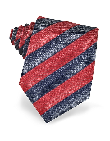 Forzieri - Blue and Red Diagonal Striped Woven Silk Tie