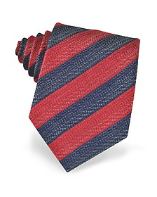 Blue and Red Diagonal Striped Woven Silk Tie - Forzieri