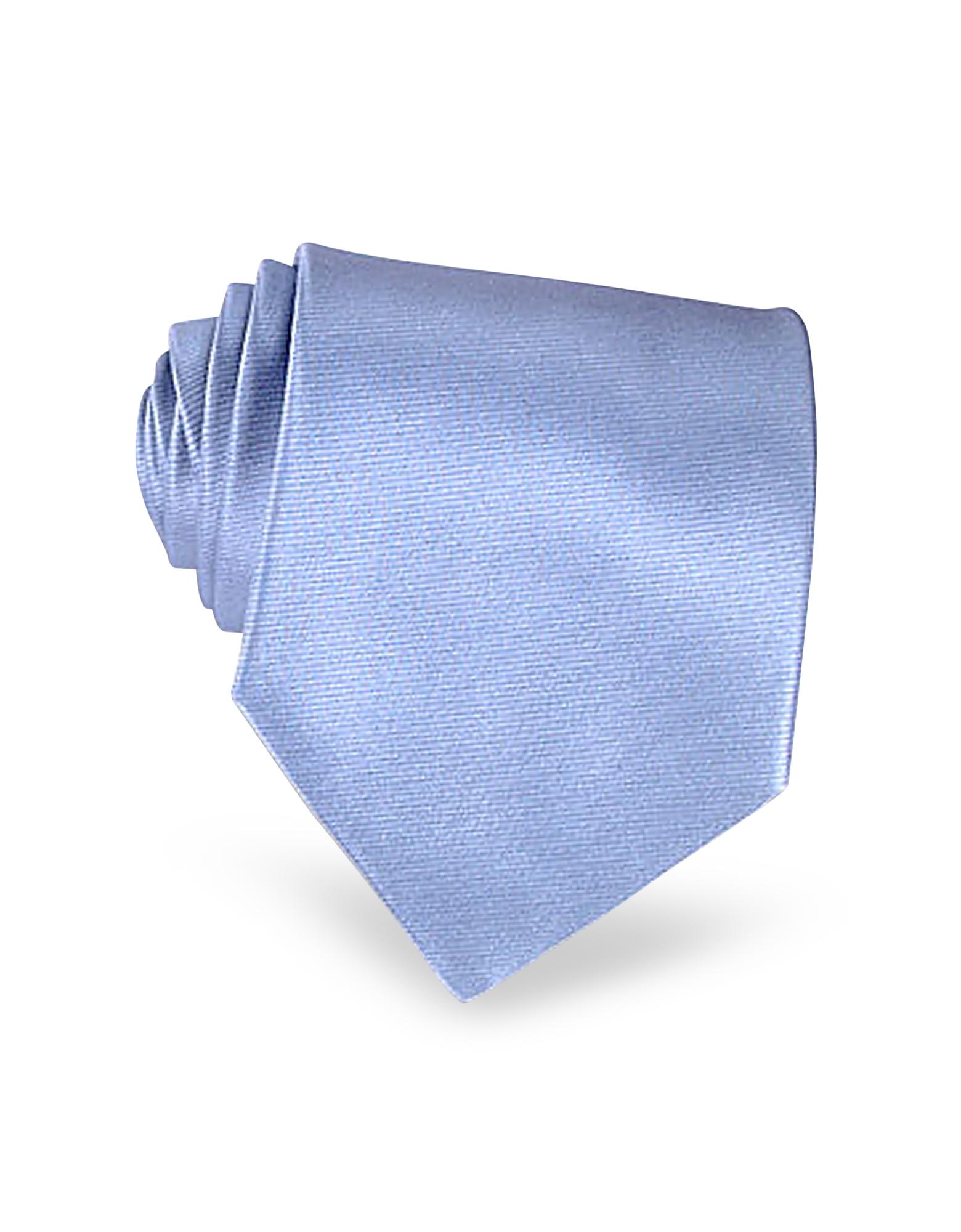 Shimmering Solid Sky Blue Textured Silk Tie