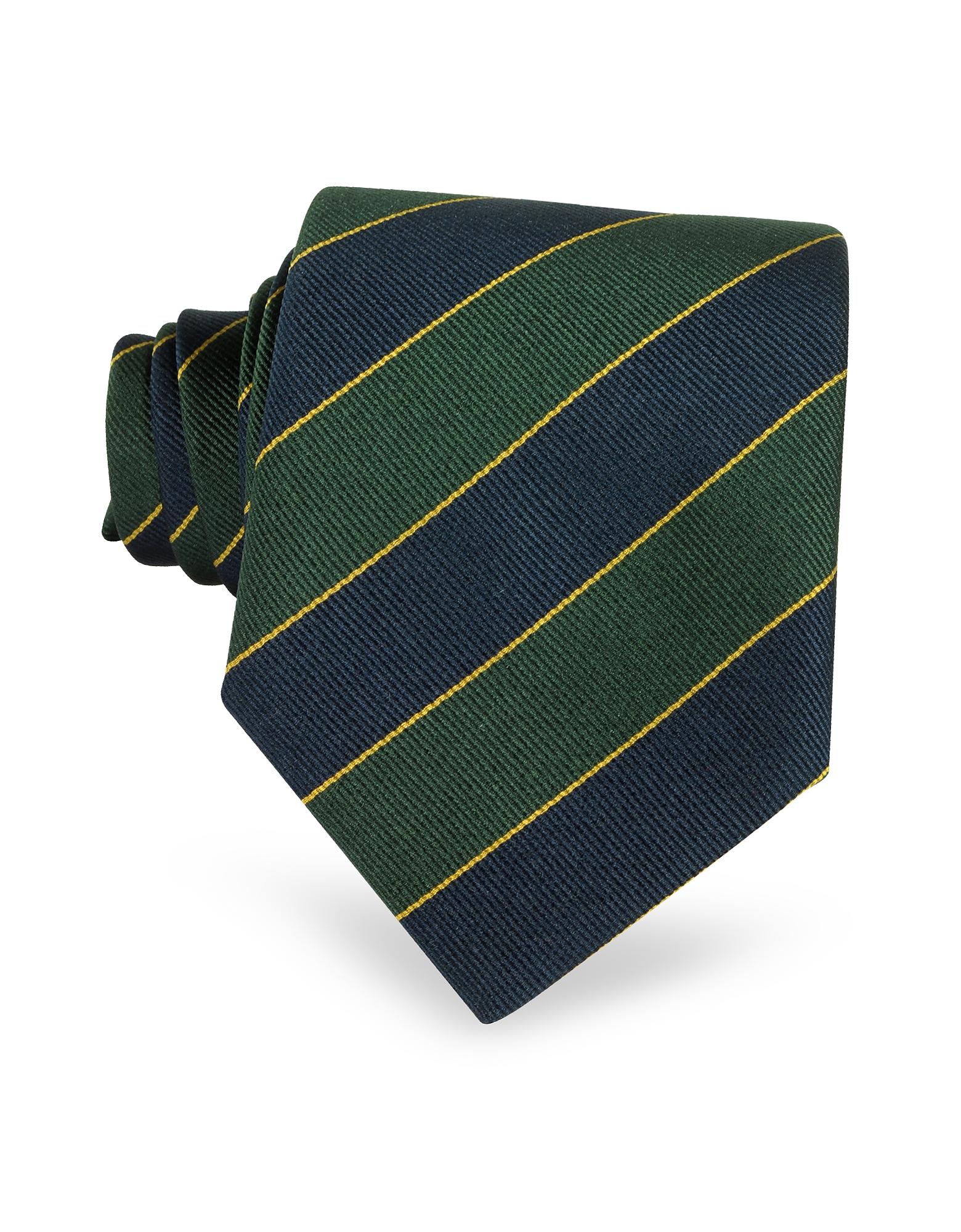 Navy Blue & Green Bands Woven Silk Tie