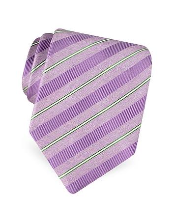 Forzieri Gold Line - Cravate en soie tissée à bandes diagonales