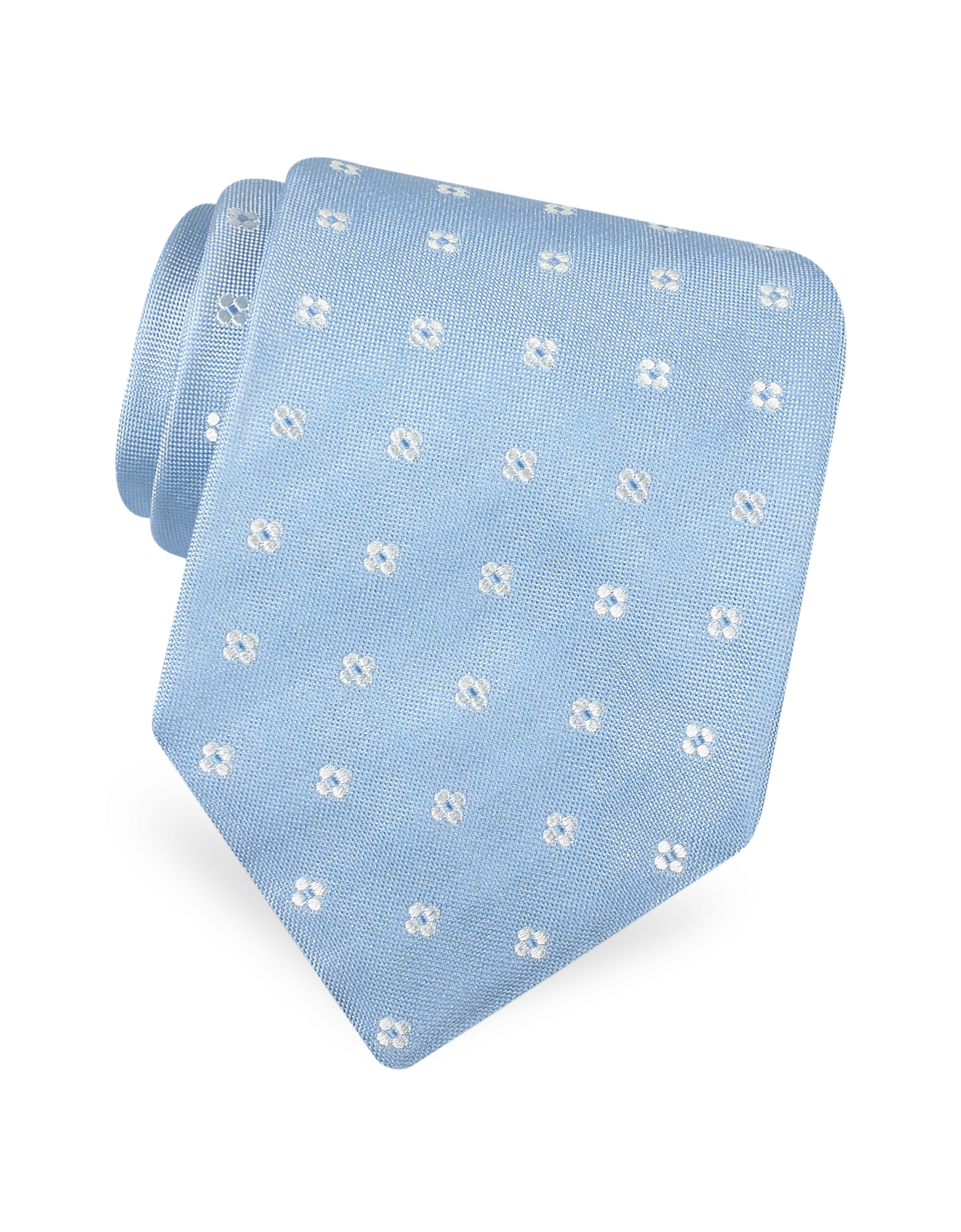 Image of Gold Line- Rounded Flower Dots Woven Silk Tie