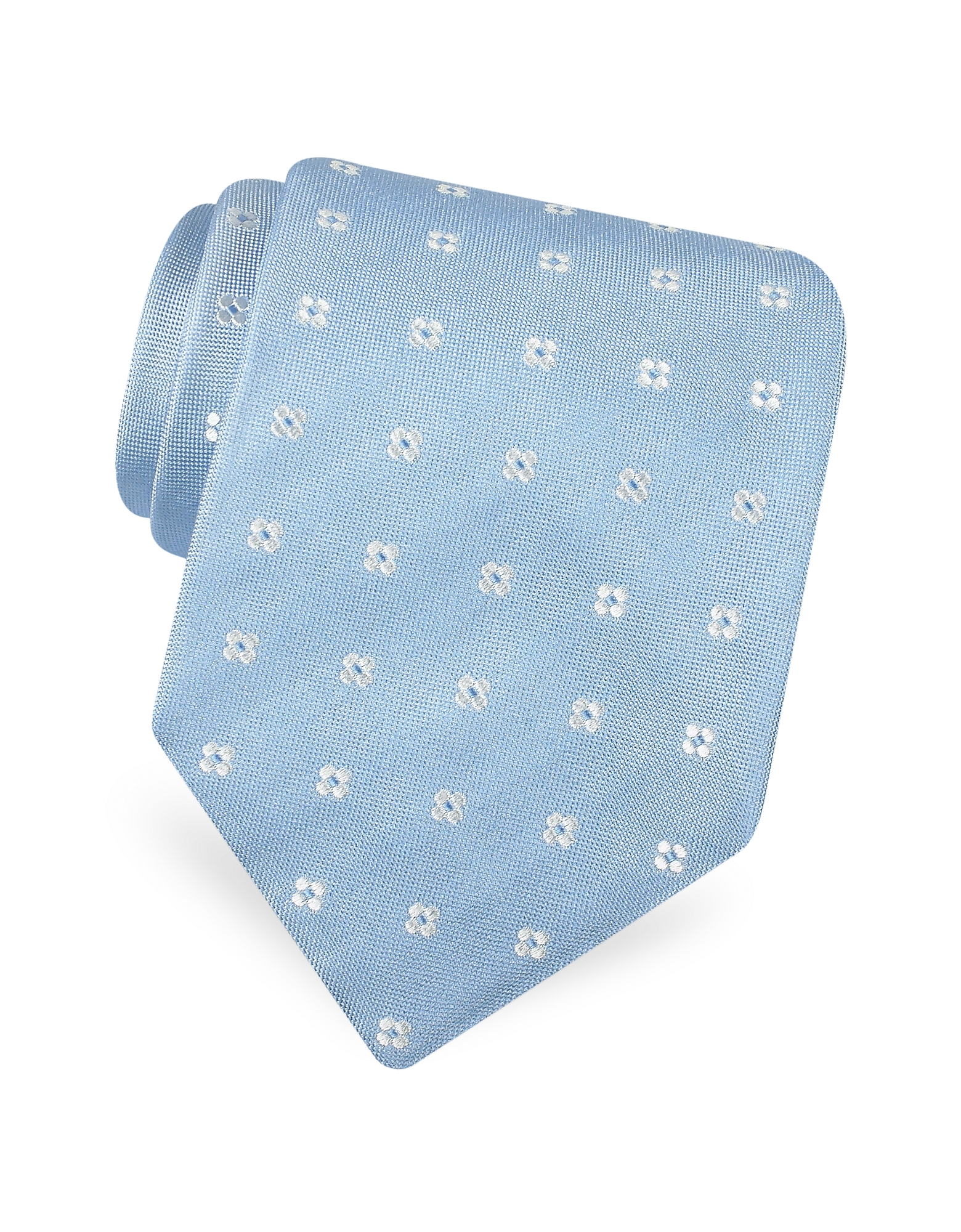 Forzieri Ties, Gold Line- Rounded Flower Dots Woven Silk Tie