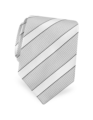 Forzieri - Gold Line- Silver and Ivory Bands Woven Silk Tie