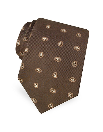 Forzieri - Mini Paisley Pattern Woven Silk Tie