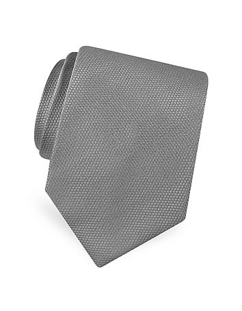 Forzieri - Gold Line Solid Classic Woven Silk Tie