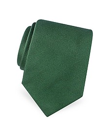 Gold Line Solid Woven Silk Tie - Forzieri