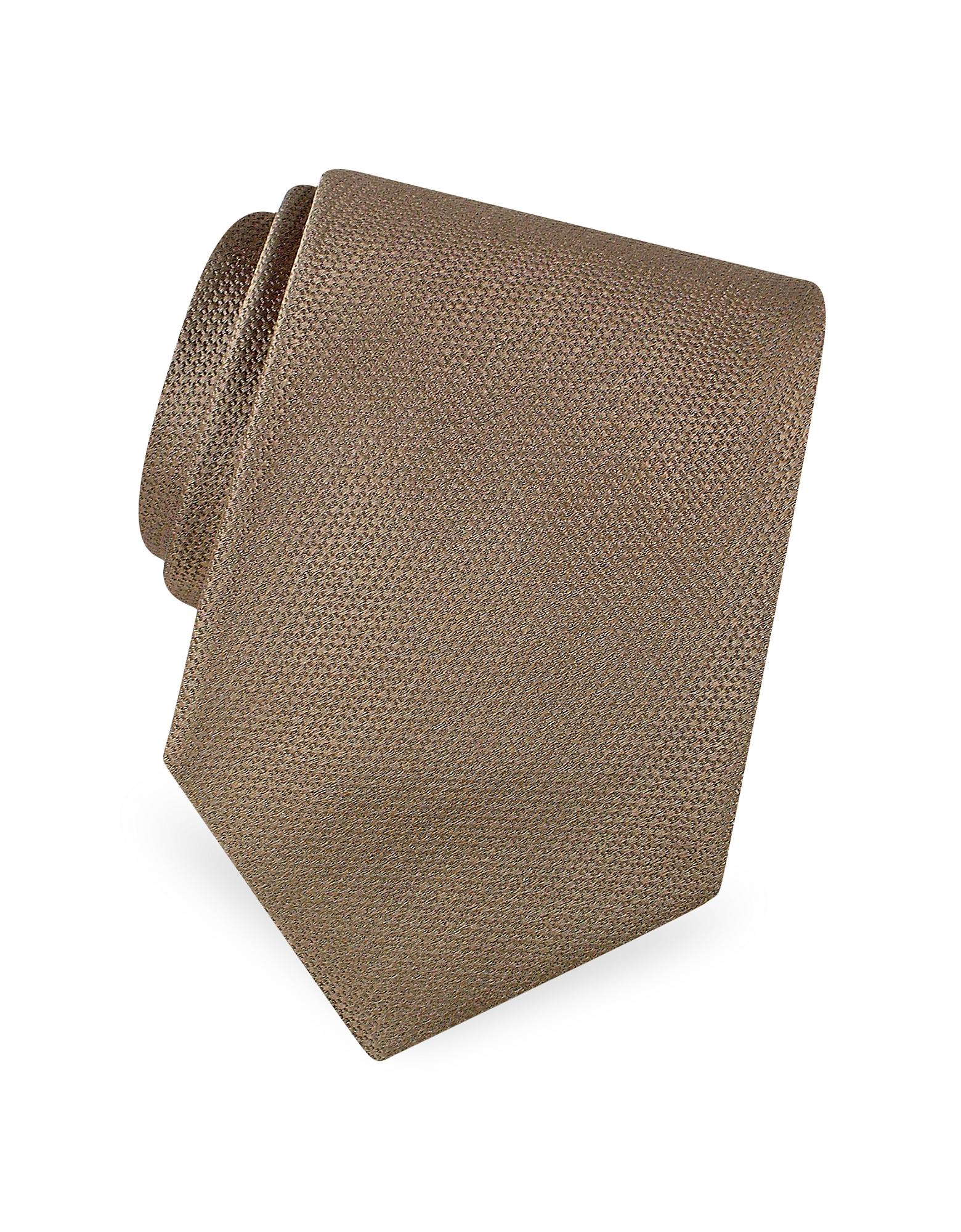 Forzieri Designer Ties, Gold Line Solid Woven Silk Tie